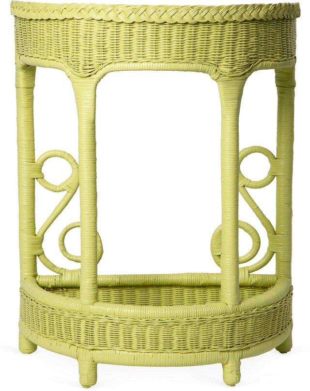 Green Wicker Demilune Table