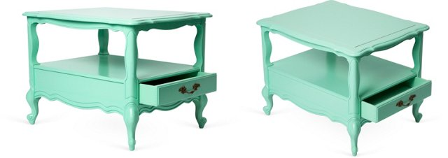 French-Style Turquoise Side Tables, Pair