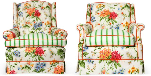 Fabulous Floral Armchairs, Set of 2