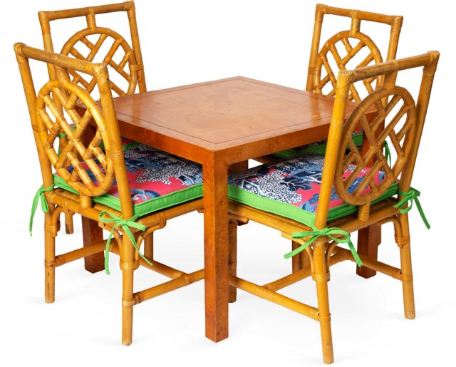 Burled Wood Game Table & 4 Rattan Chairs