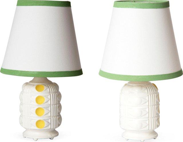 Painted White Vanity Lamps, Pair