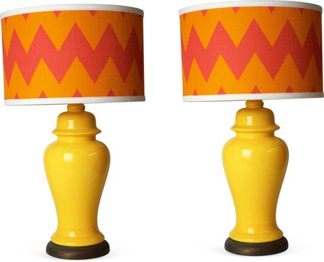 Lemon-Yellow Table Lamps, Pair