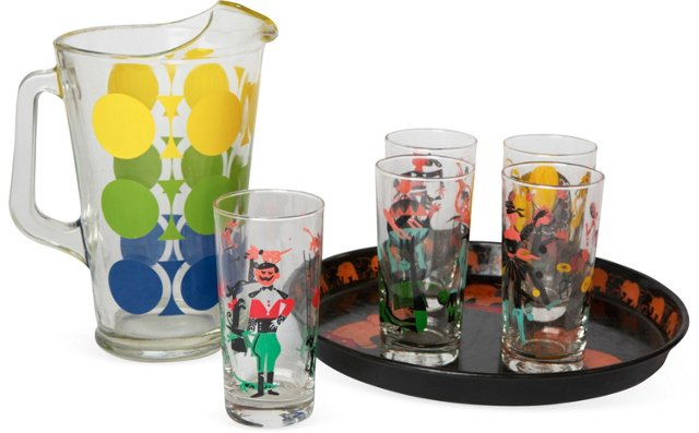 Circus-Themed Bar Collection, Set of 7