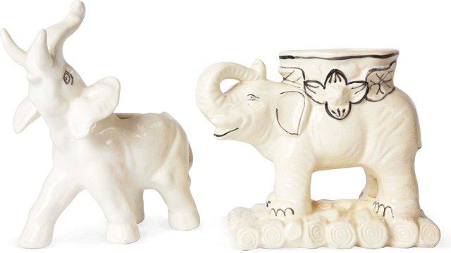 Ceramic Elephant Planters, Set of 2