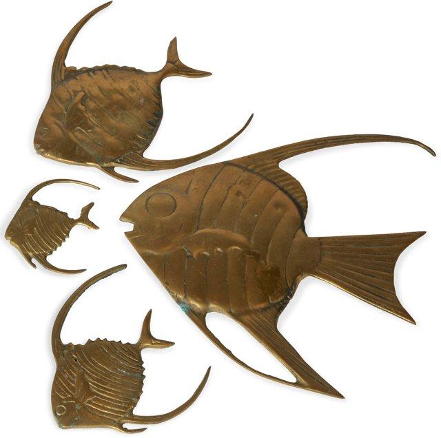Brass Fish Wall Hangings, Set of 4