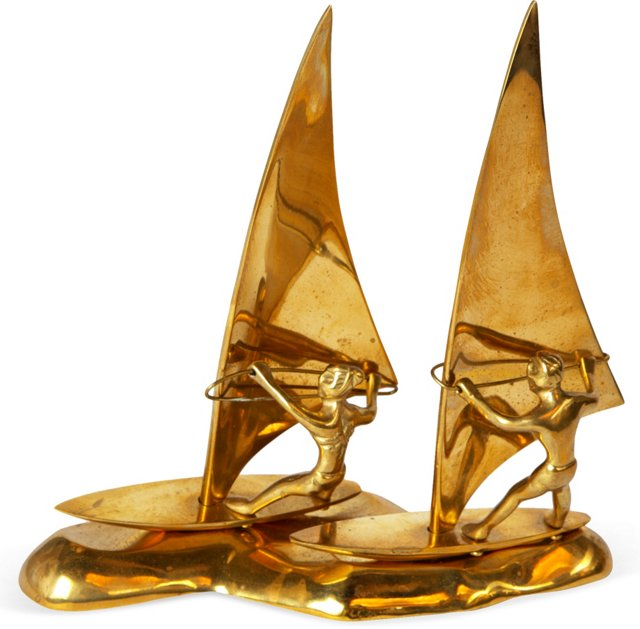 Brass Windsurfers Sculpture