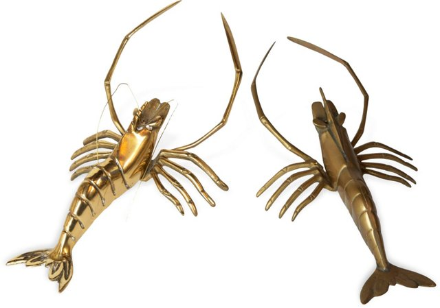 Playful Brass Lobsters, Pair