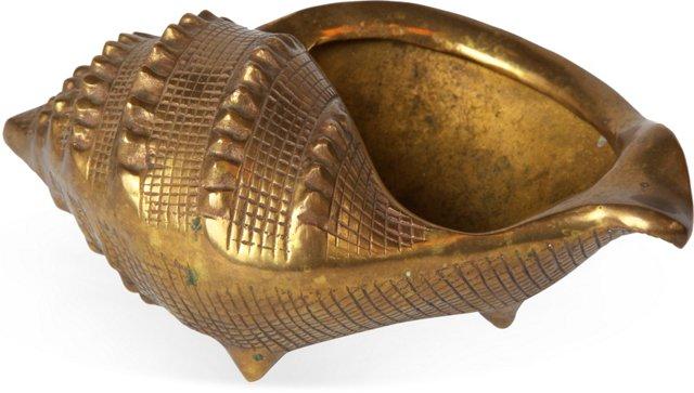 Large Brass Shell Planter