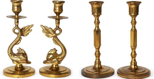 Beautiful Brass Candlesticks, Set of 4