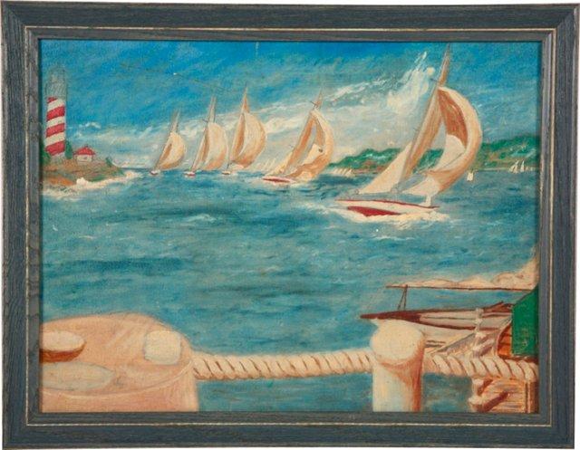 Zippy Sailboat Race Painting
