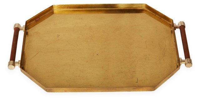 Petite Brass Tray w/ Wood Handles