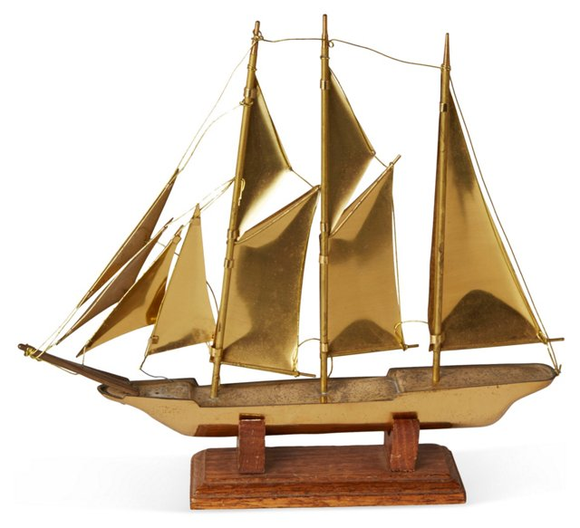 Brass Ship on Wood Stand