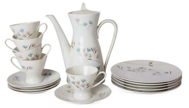 Floral Coffee Set, 16 Pcs.