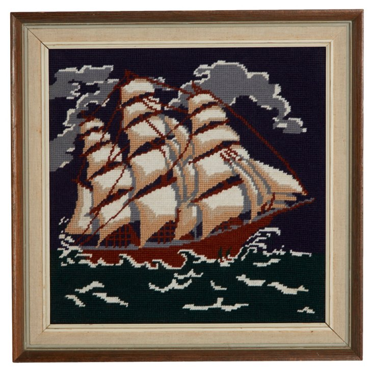 Framed Ship Needlepoint