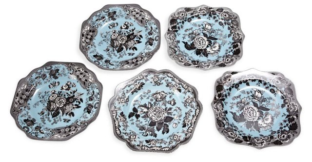 Blue Spode Plates, Set of 5
