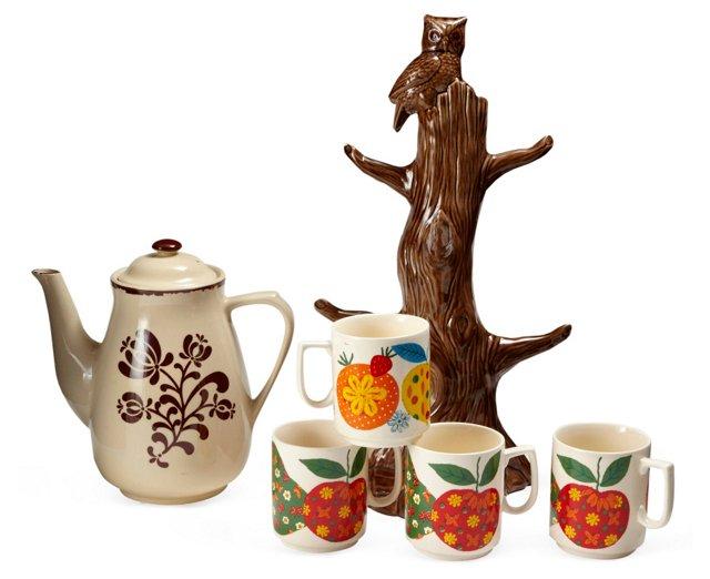 Coffee Set w/ Tree Holder, 6 Pcs.