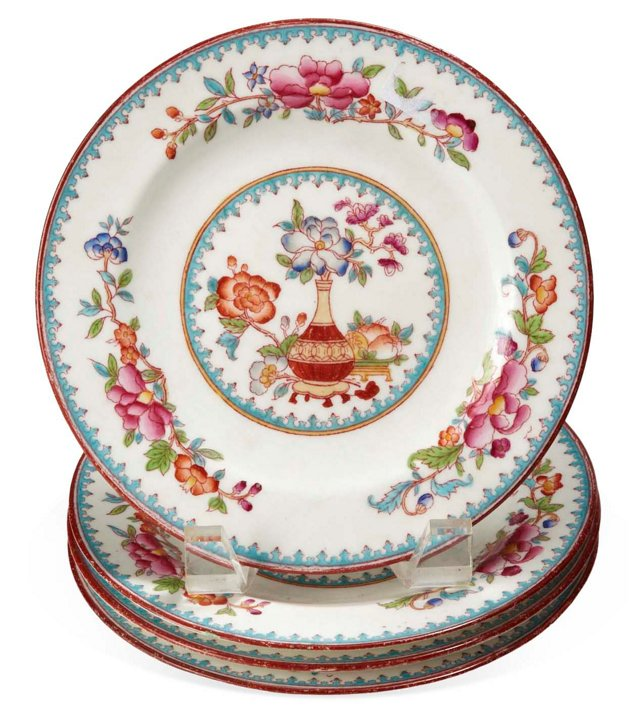 Asian-Pattern Plates, Set of 4