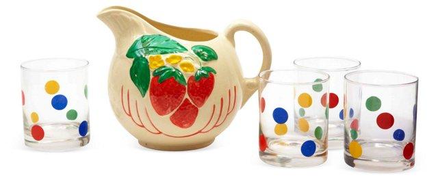 Strawberry/Polka Dot Juice Set, 5 Pcs.
