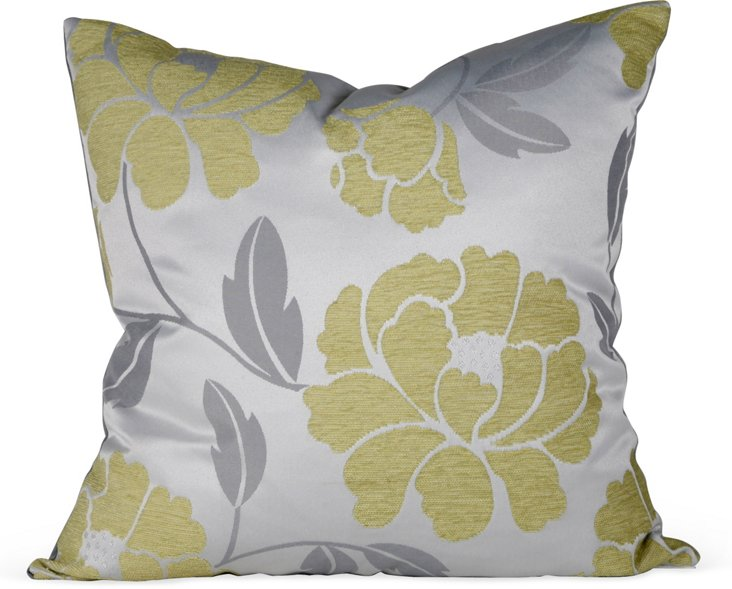 Gray & Green Floral Chenille Pillow