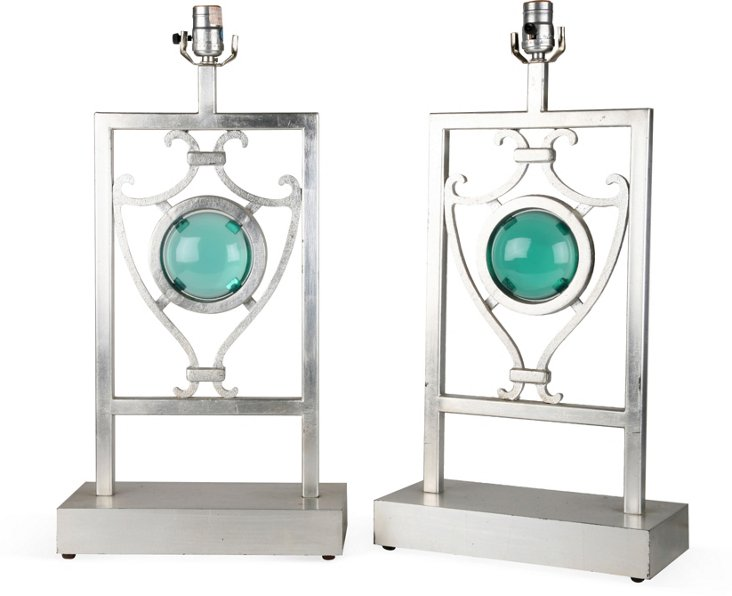 Vintage Scroll & Lucite Lamps, Pair
