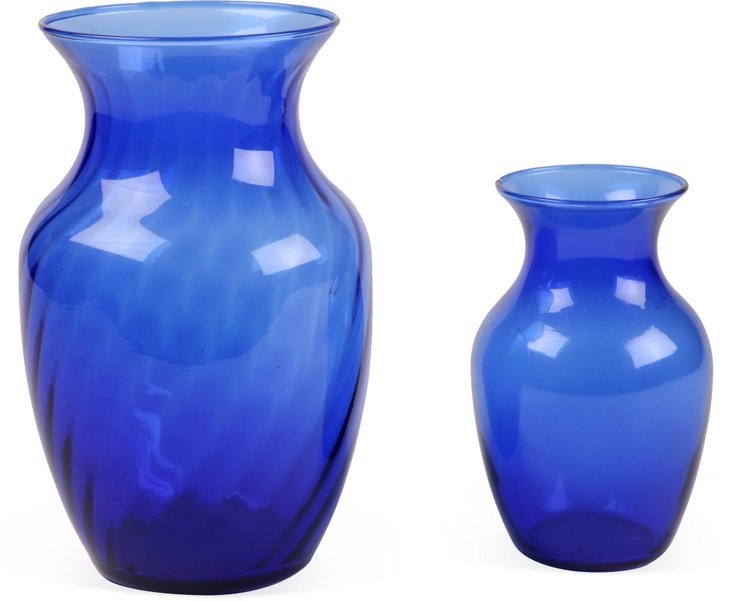 Cobalt Blue Vases, Set of 2