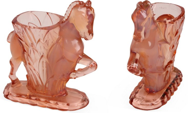 Depression Glass Pony Vases, Pair