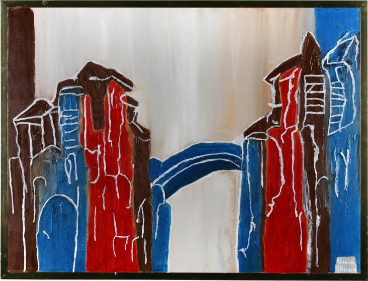 1970s Abstract Village by Gloria Allison