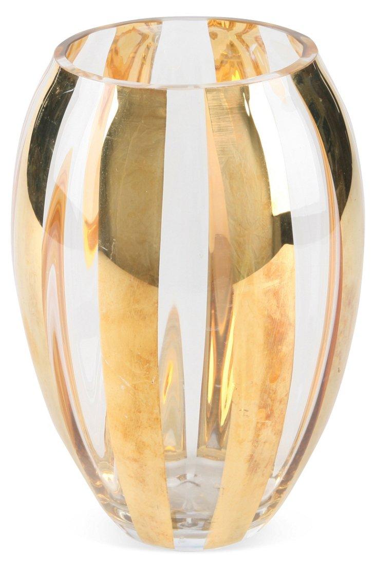 Gold Striped Glass Vase