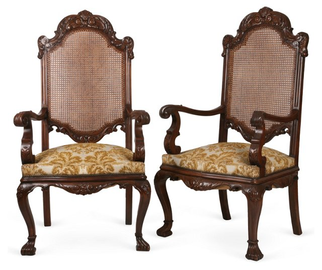 Spanish Baroque Arm Chairs, Pair