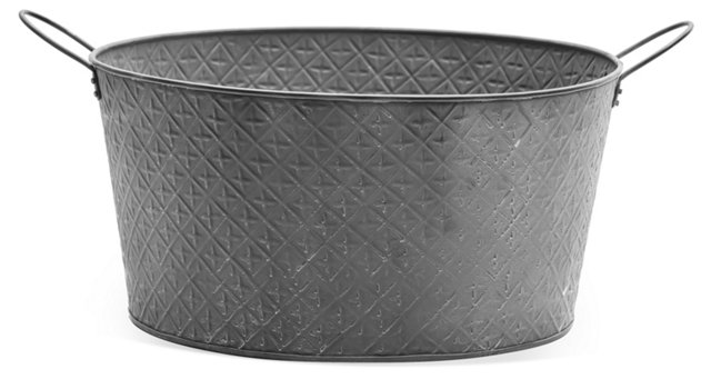 "18"" Round Textured Tub, Gray"