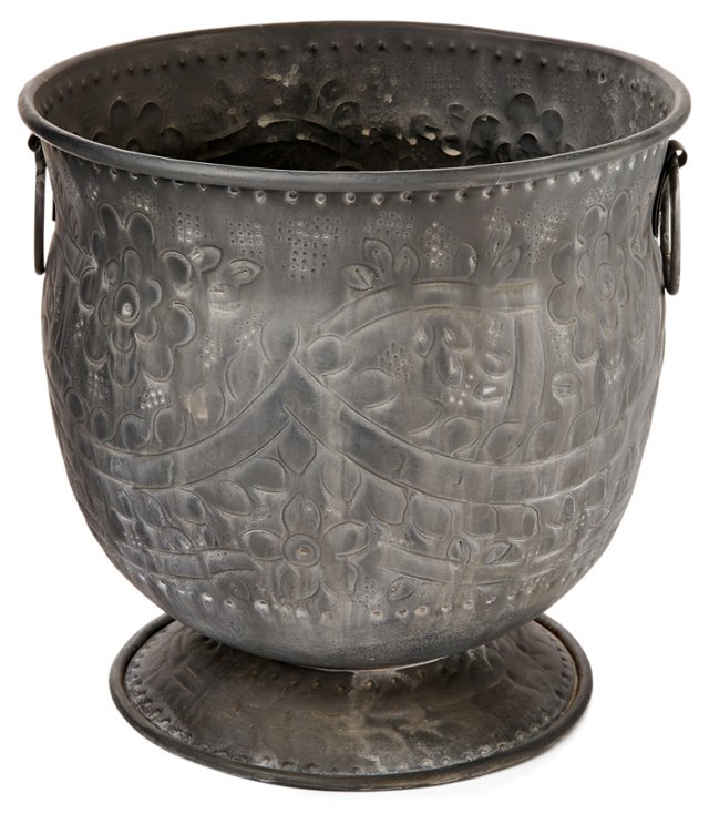 """10"""" Etched Planter, Gray"""