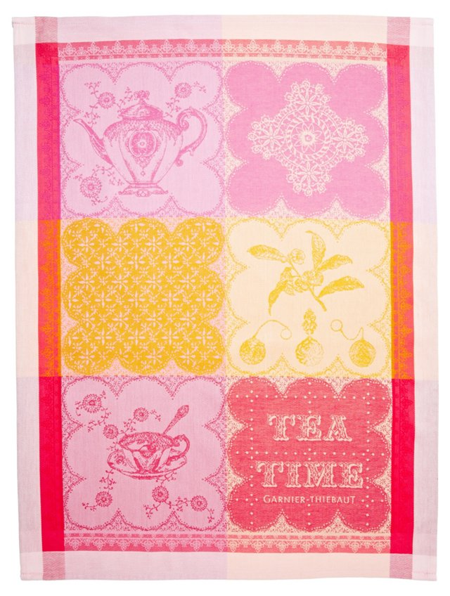 S/4 Kitchen Towels, Cup of Tea Fuchsia