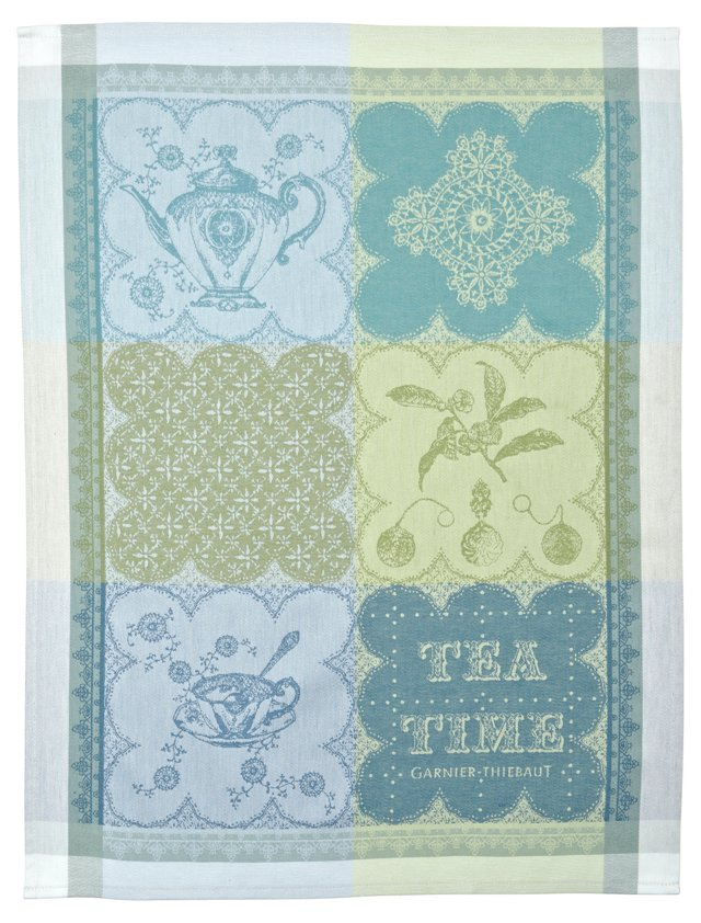 S/4 Cup of Tea Kitchen Towels, Green