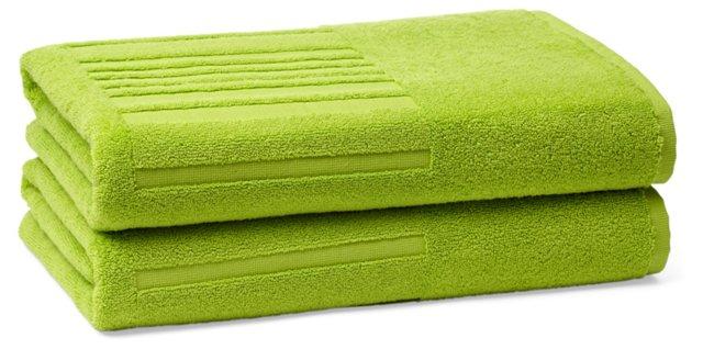 Set of 2 Spa Bath Towels, Lime