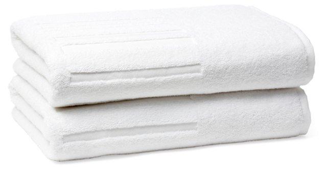 S/2 Spa Bath Towels, White