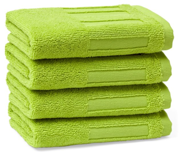 Set of 4 Spa Face Cloths, Lime