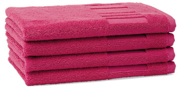 Set of 4 Spa Guest Towels, Raspberry