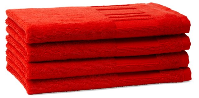 Set of 4 Spa Guest Towels, Strawberry