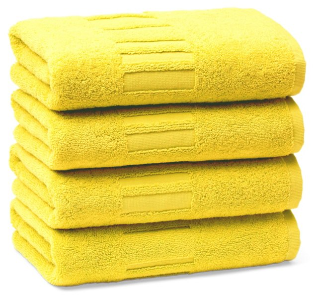 Set of 4 Spa Hand Towels, Lemon
