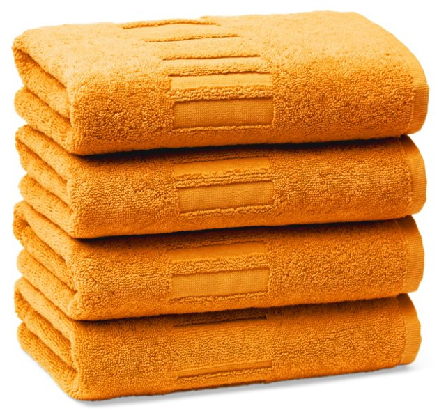 Set of 4 Spa Hand Towels, Mandarin