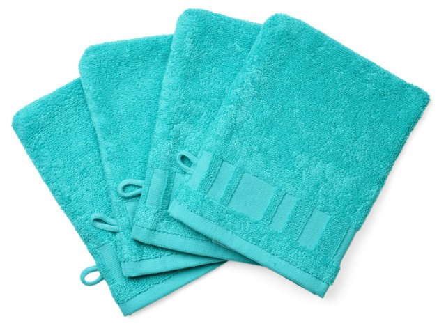 Set of 4 Spa Washcloth Mitts, Curacao