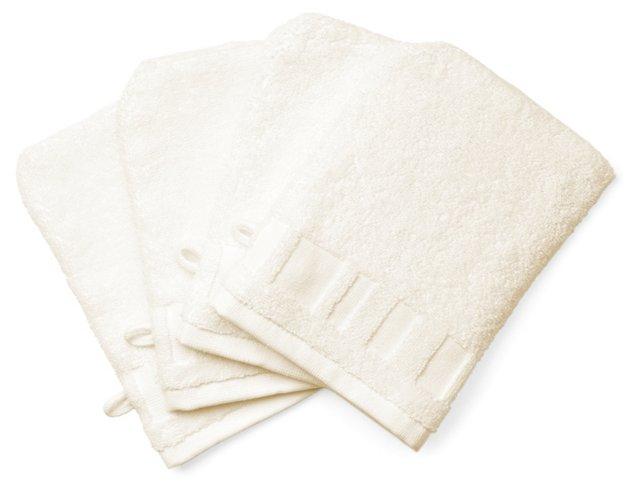 S/4 Spa Washcloth Mitts, Ivory