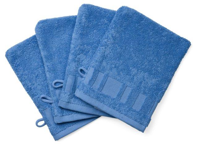 Set of 4 Spa Washcloth Mitts, Lagon