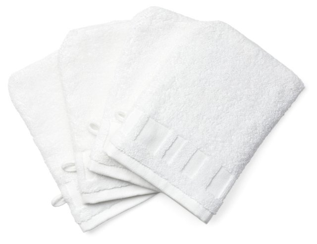 S/4 Spa Washcloth Mitts, White