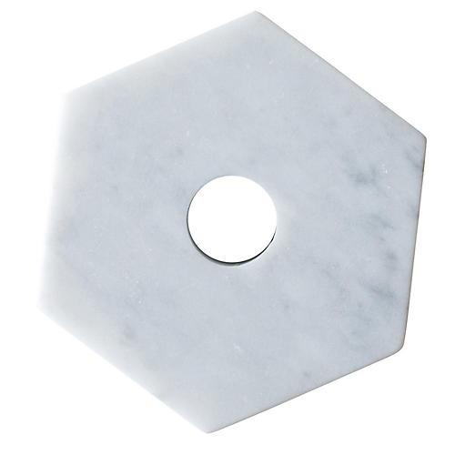 """4"""" Hexagonal Marble Candleholder, White"""