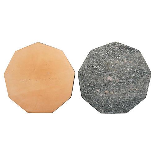 Marble Nonagon Trivet, Silver-Fleck/Tan