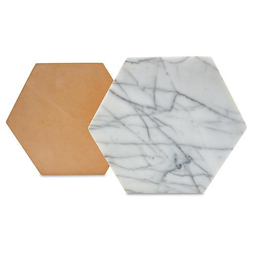 Marble Hexagon Trivet, White/Tan