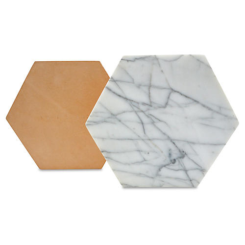 Marble Hexagon Trivet, White/Tan