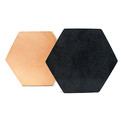 Granite Hexagon Trivet, Black/Tan