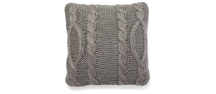 Cable-Knit 20x20 Pillow, Gray